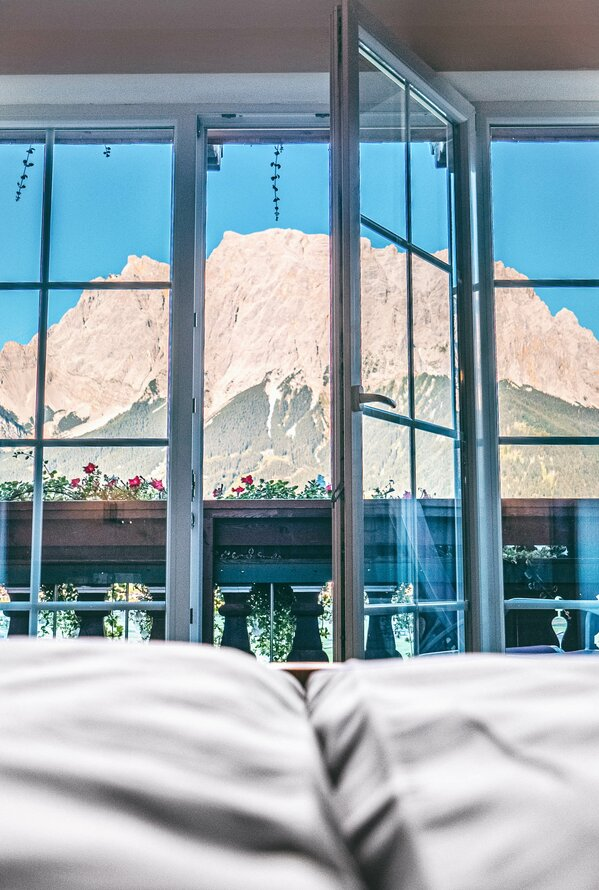 Waking Up with Zugspitze View | Best Alpine Wellness Hotel Post, Tyrol